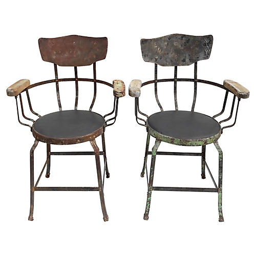 French Metal Industrial Armchairs, Pair