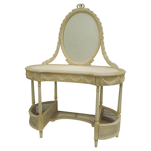 Antique French Caned Vanity