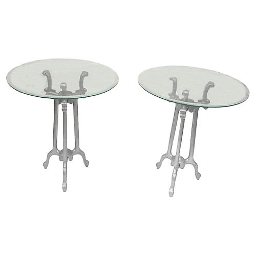 French Armetale Pewter Tables, Pair