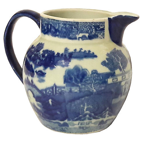 English Flow Blue Chinoiserie Pitcher