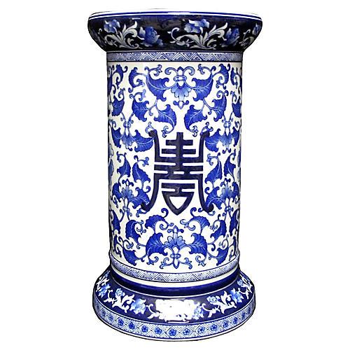 Chinoiserie Blue/White Plant Pedestal