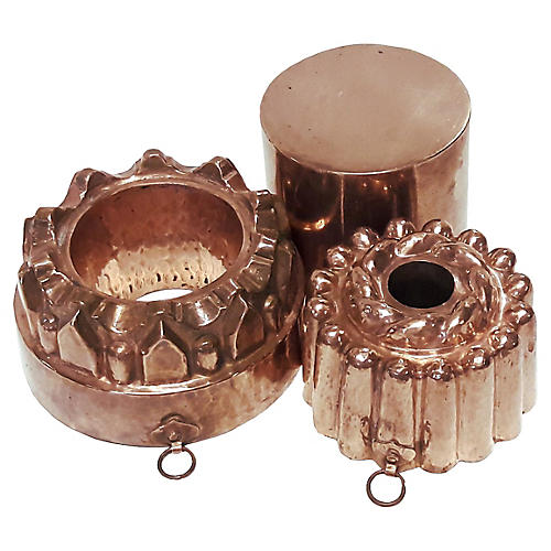 English Copper Pudding Molds, S/3
