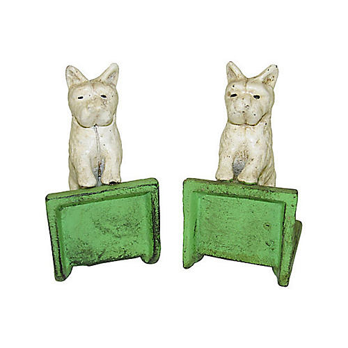 White Scottie Dog Cast Iron Bookends