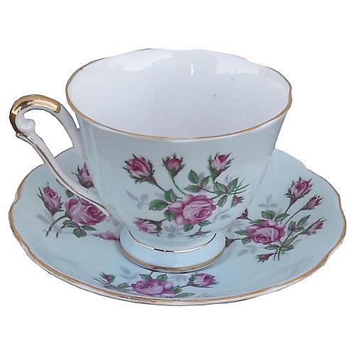 Pale Blue English Floral Teacup