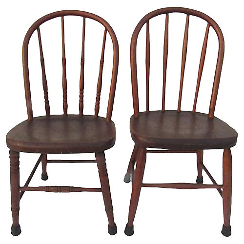 Antique Children's Windsor Chairs, Pair