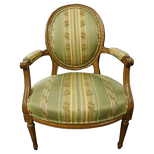 French Provincial Brocade Fauteuil