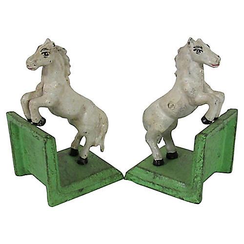 Rustic Cast Iron White Horses, Pair