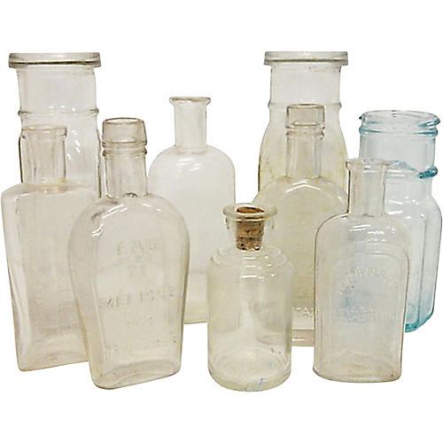 Antique French Bottles, S/9