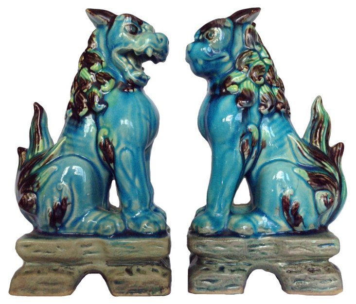 Faience Foo Dogs, Pair