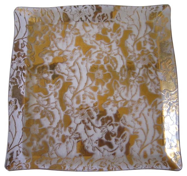 Gold Floral Glass Tray