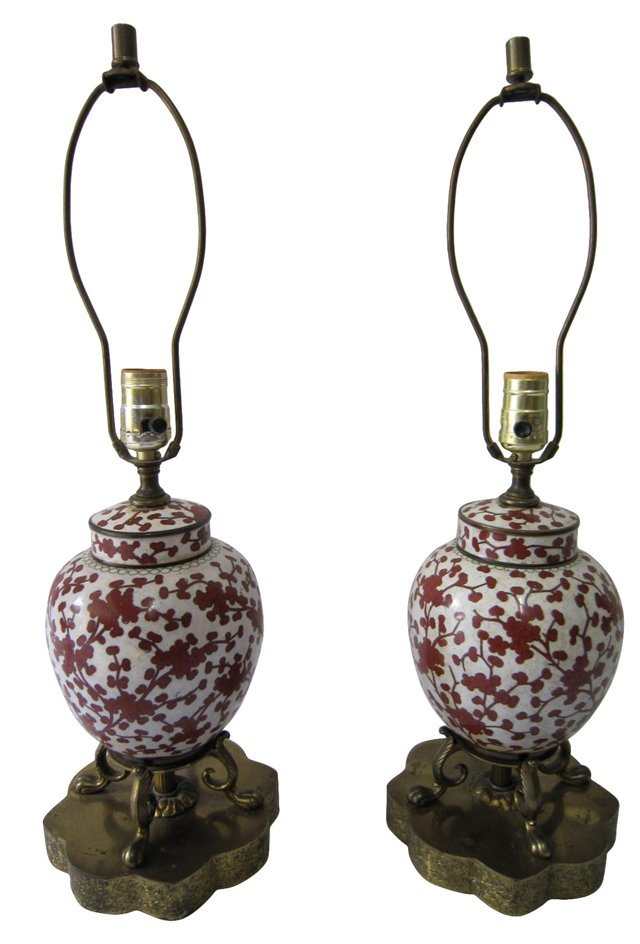 Cloisonné Chinese Lamps, Pair