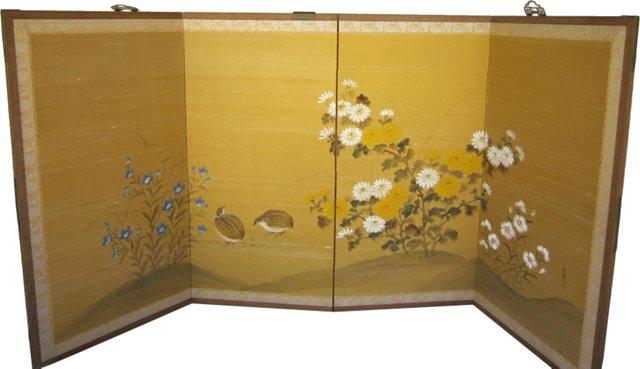 Japanese Boybu 4-Panel Screen