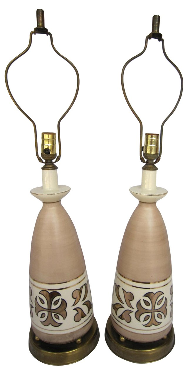 Shell Pink Pottery Lamps, Pair