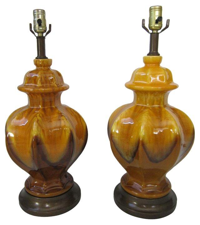 Drip Glaze Ginger Jar Lamps, Pair