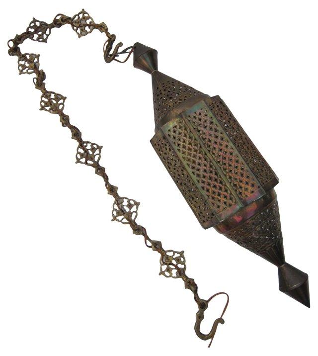 Pierced Brass Hanging Lamp