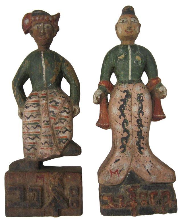 Folk Art Thai Figures, Pair