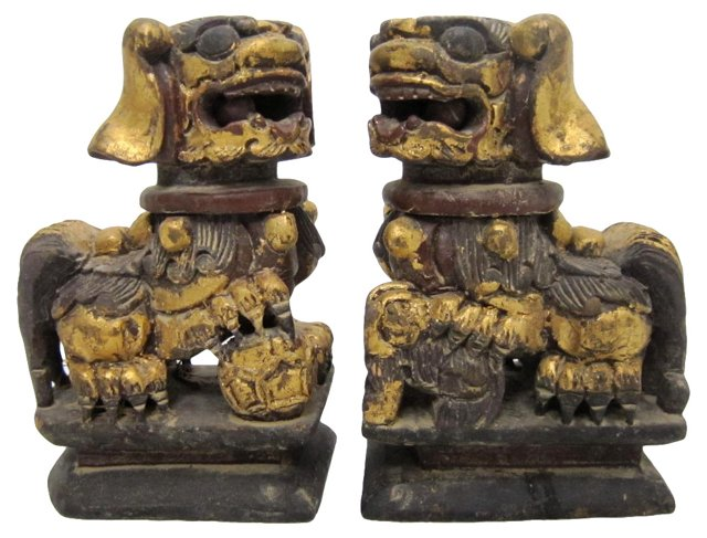 Carved Foo Dogs, Pair
