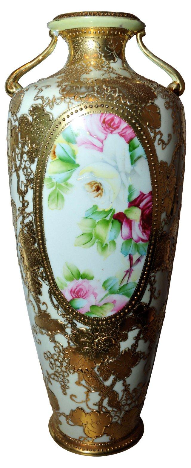 Antique Nippon Vase w/ Roses