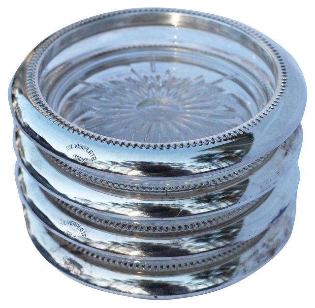 Italian Silver & Crystal Coasters, S/4