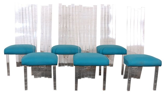 Lucite Dining Chairs, Set of 6