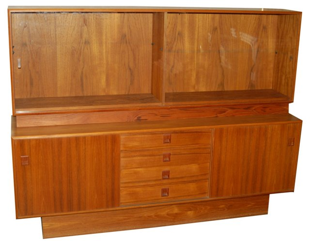 Teak Sideboard w/ Glass Doors, 2 Pcs.