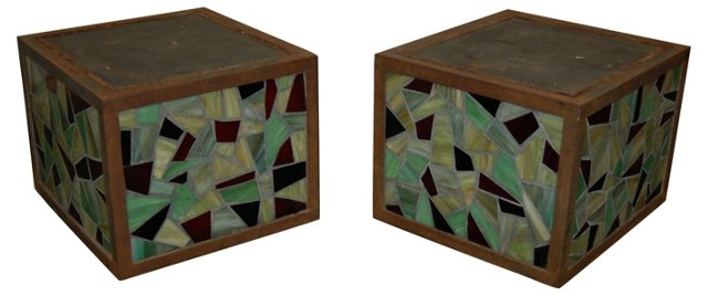 Stained Glass Industrial Tables, Pair