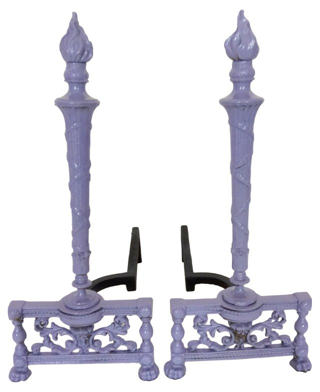 Purple Lacquered Andirons