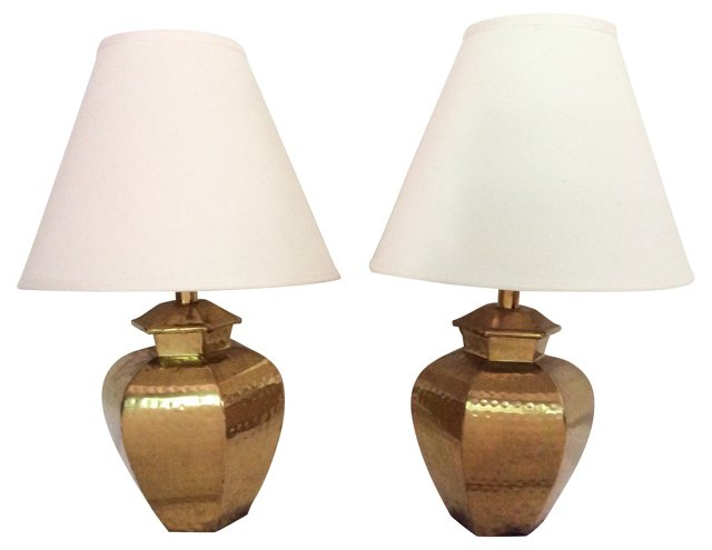1970s Hammered Brass Lamps, Pair