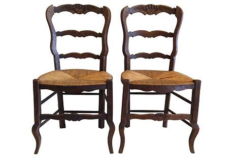 French Rush Seat Chairs, S/4