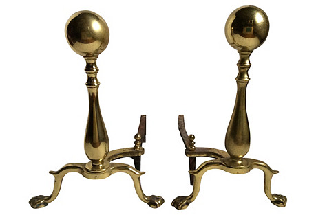 Brass Andirons, S/2