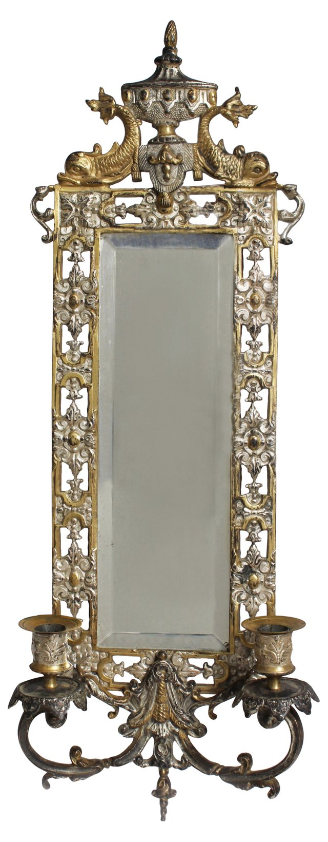 19th-C. Mirror w/ Candleholders