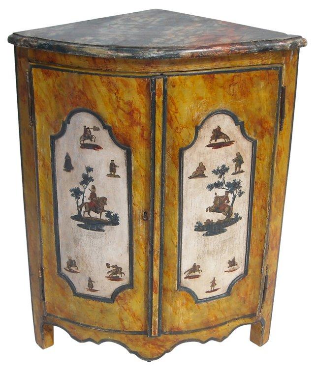 19th-C. Lacca Povera Corner Cabinet