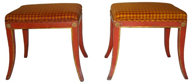 Painted Venetian Stools, C. 1800, Pair