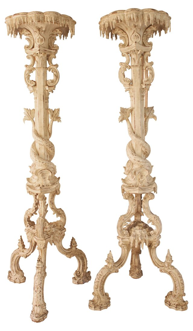 Italian Carved Stands, Pair