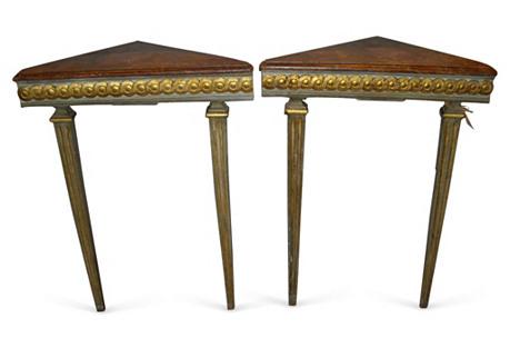 Italian Painted & Gilt   Tables,  Pair
