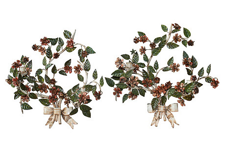 19th-C. French Tole Sconces, Pair
