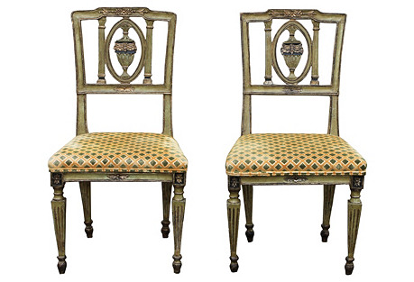 1830 Italian Painted Side Chairs, Pair
