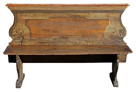 Italian Painted Bench, C. 1800