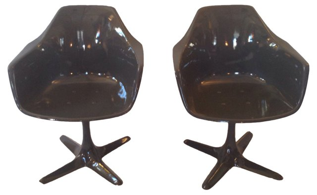 Saarinen-Style Lacquered Chairs, Pair