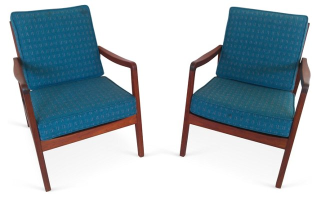 Midcentury Lounge Chairs,  Pair