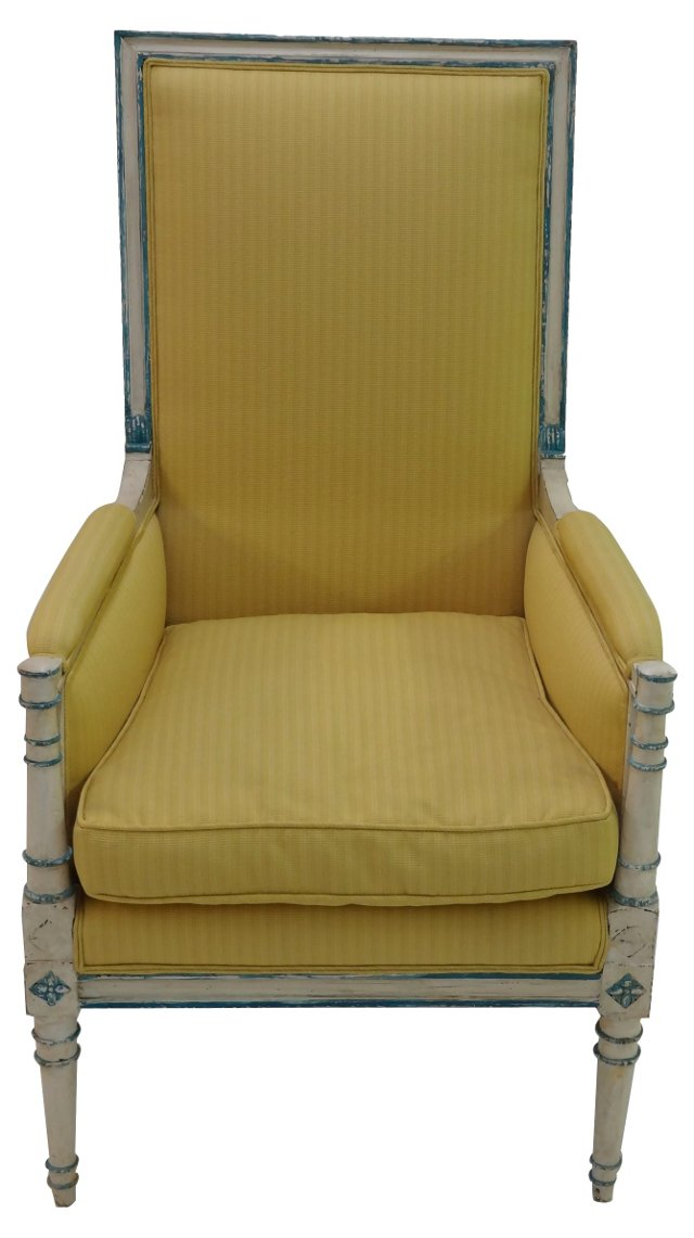 19th-C. French Highback Armchair