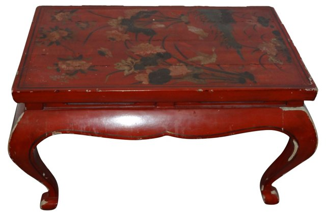 Red Asian Side Table