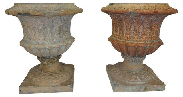 19th-C. Terracotta Urns, Pair