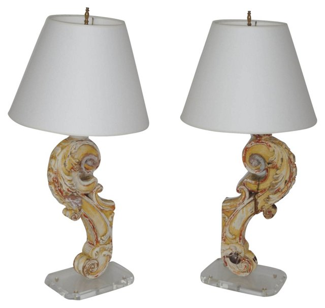 Architectural Fragment Lamps, Pair