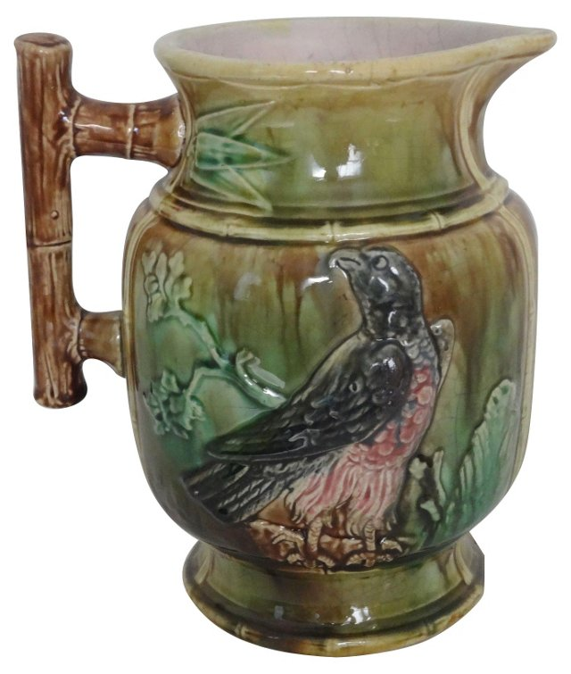 Antique Majolica Water Pitcher