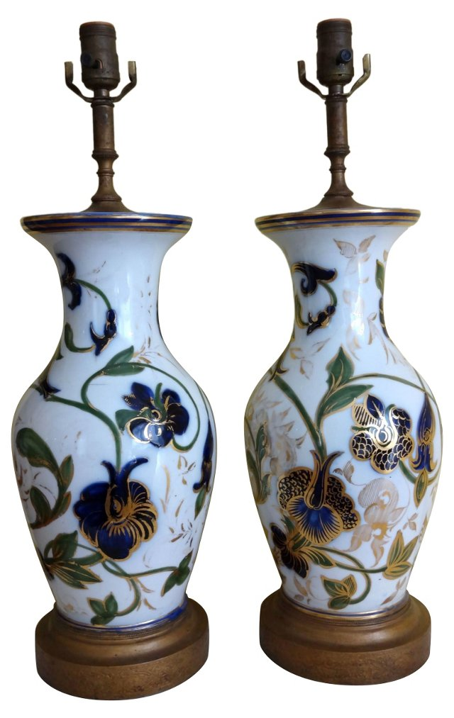 Porcelain Lamps, Pair