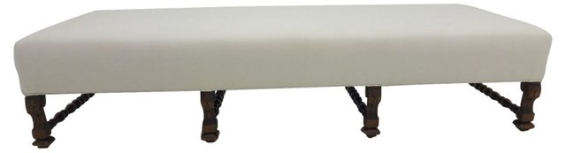 Upholstered Bench w/ Carved Legs