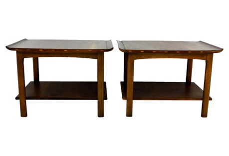 Midcentury Lane Side Tables, Pair