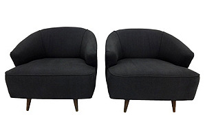 Barrel-Back  Lounge Chairs, Pair*