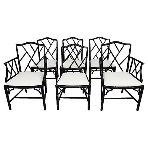 Faux Bamboo Dining chairs, six